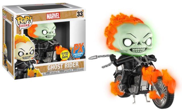 Funko Glow in the Dark Ghost Rider on Motorcycle POP Vinyls Rides Set