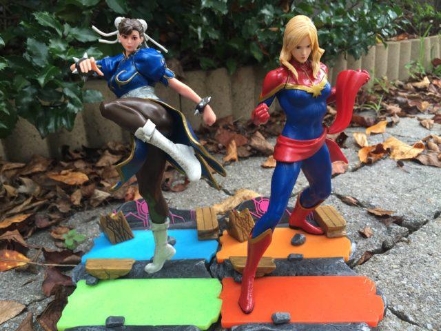 Interlocking Bases on Marvel vs. Capcom Statues Interlocking Bases Chun Li Captain Marvel