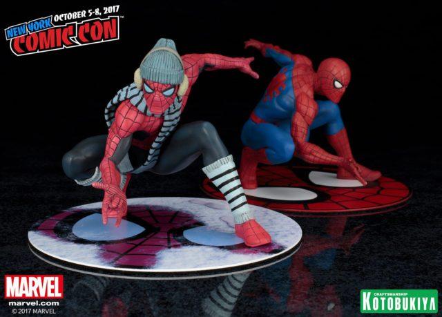 Marvel Kotobukiya NYCC 2017 Exclusive Spider-Man Winter Gear ARTFX+ Comparison