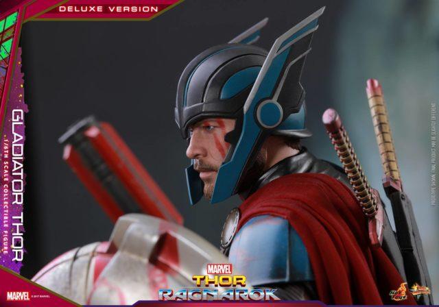 Side View of Gladiator Thor Hot Toys Figure Wearing Helmet