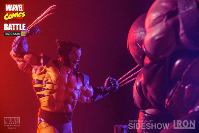 Unmasked Wolverine Head Iron Studios Battle Diorama Wolverine versus Juggernaut