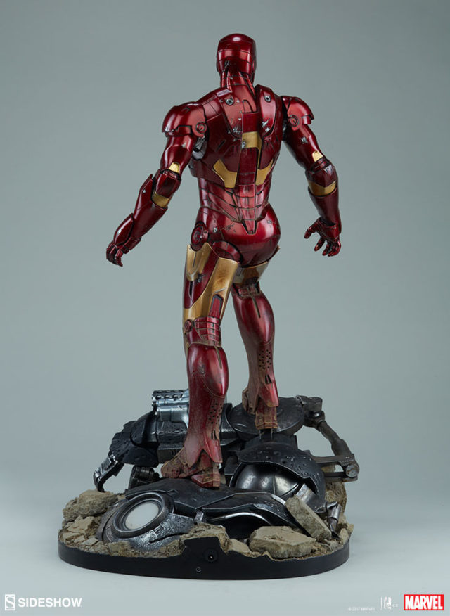 Back of Iron Man Sideshow Collectibles Mark III Maquette Statue
