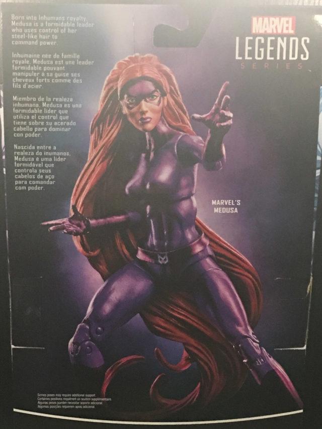 Back of Package Walgreens Marvel Legends Medusa Figure