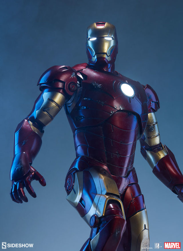 Close-Up of Iron Man Mark III Maquette with Lights On