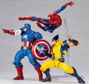 Kaiyodo Revoltech Marvel Wolverine Spider-Man Captain America