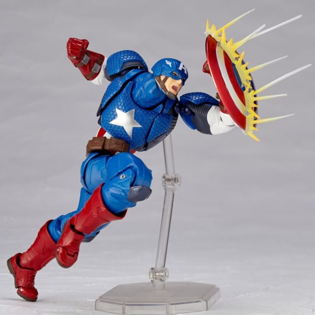 Revoltech Captain America Figure with Bullet Effects Piece on Shield