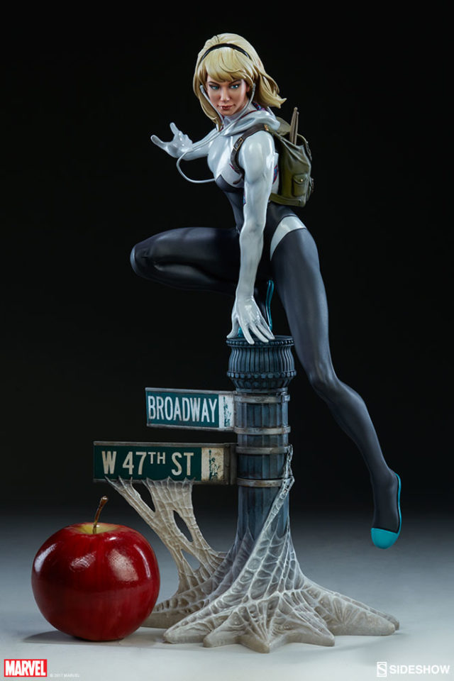 Spider-Gwen Spider-Verse Statue Sideshow Collectibles Scale Comparison Size with Apple