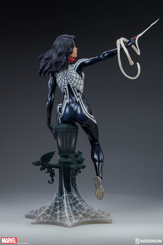 Back of Sideshow Spider-Verse Silk Statue