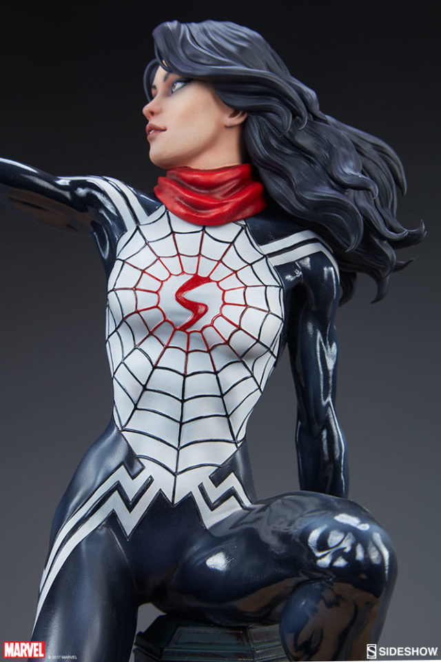 Front View of Spider-Verse Mark Brooks Silk Sideshow Statue