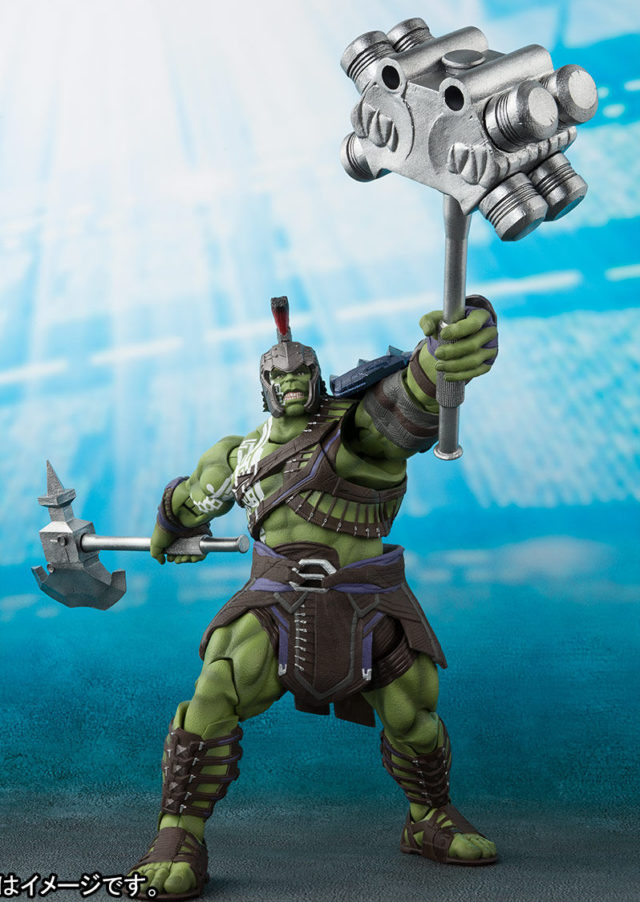 Gladiator Hulk S.H. Figuarts Bandai Figure Holding Weapons in the Air