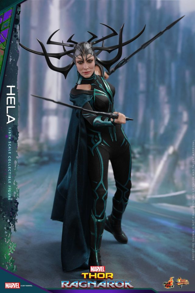 Hela Hot Toys Figure Posed with Swords