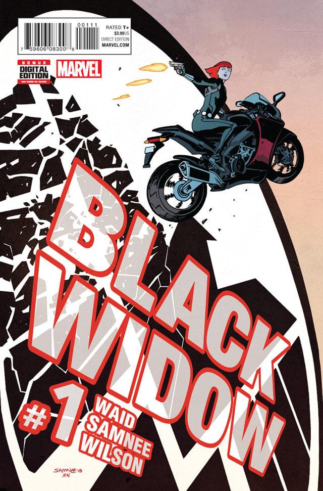 Mark Waid Black Widow #1 Cover Black Widow on Motorcycle