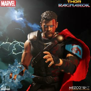 Mezco Gladiator Thor Figure with Lightning Eyes and Effects Piece