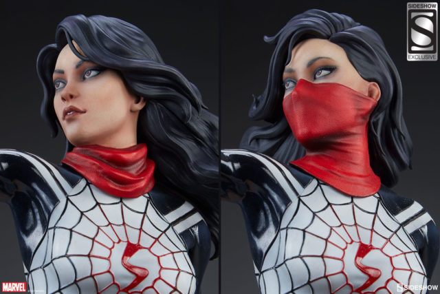 Sideshow Spider-Verse Silk Statue Heads Masked and Unmasked Portraits