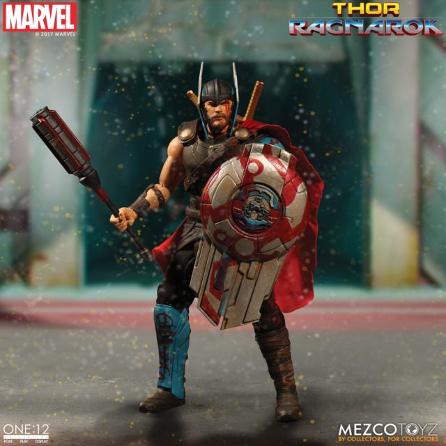 Thor Ragnarok Mezco ONE 12 Collective Gladiator Thor Figure with Mace and Shield