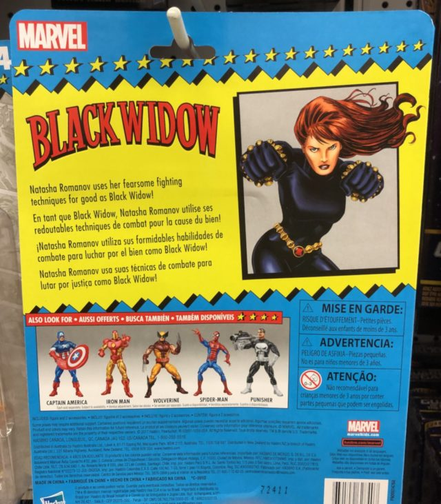 Hasbro Toybiz Tribute Black Widow Figure Cardback