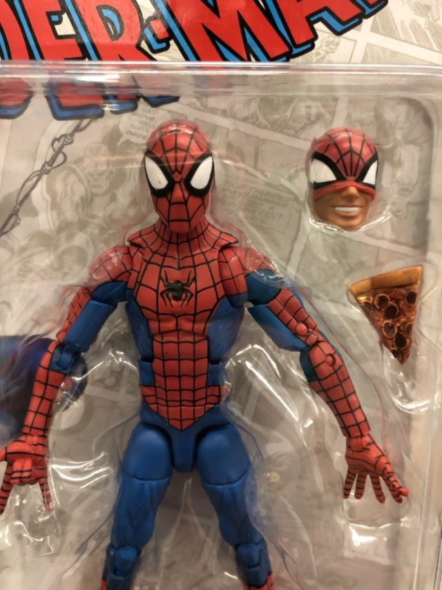 Close-Up of Hasbro Marvel Legends Retro Pizza Spider-Man