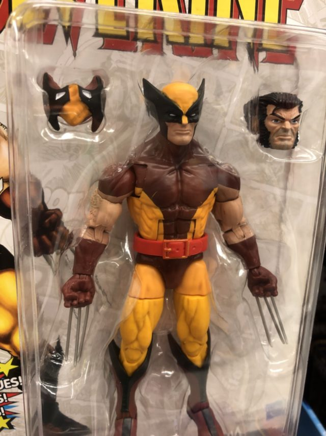 "Close-Up of Marvel Legends Vintage Wolverine Brown Costume 6"" Figure"