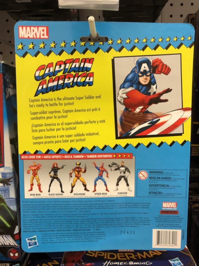 Back of Package Vintage Captain America Figure 2017 Marvel Legends