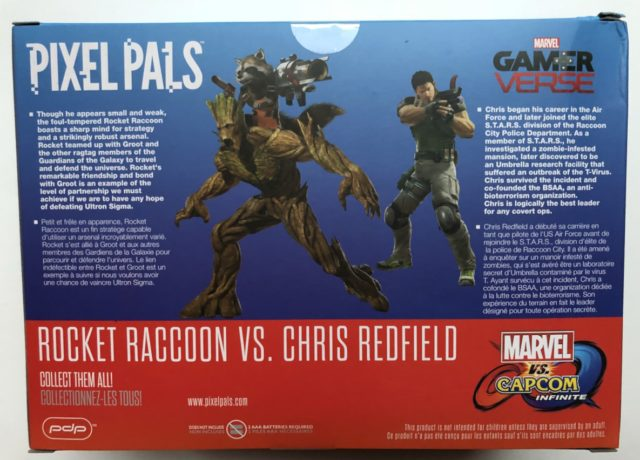 Back of Box Pixel Pals Rocket Raccoon vs. Chris Redfield