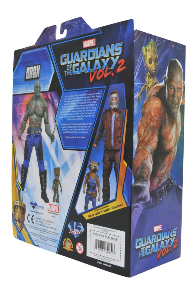 Box Back Marvel Select Drax Movie Figure with Groot