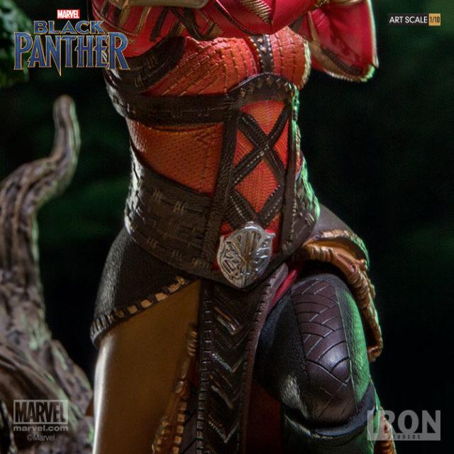 Close-Up of Detail on Iron Studios Okoye Black Panther Statue