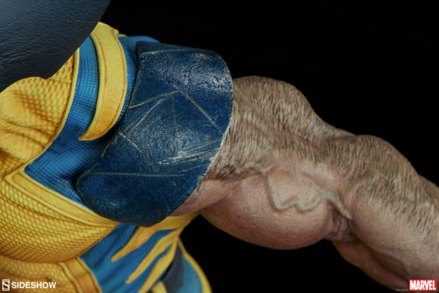 Close-Up of Yellow Costume Wolverine Sideshow Premium Format Figure Detailing