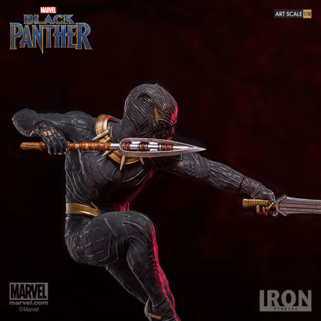 Iron Studios Killmonger Statue with Sword and Spear