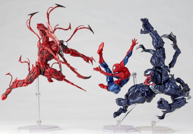 Kaiyodo Revoltech Figures Spider-Man vs Venom vs Carnage