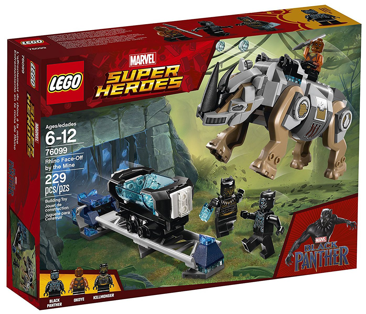 Lego Black Panther Rhino Face Off By The Mine 76099 Set Box Front
