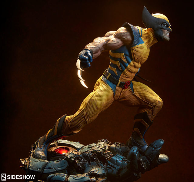 Side View of Yellow Costume Wolverine Premium Format Figure