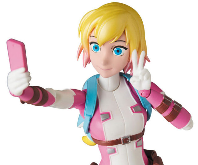 Close-Up of Unmasked Gwenpool 6 Inch Figure MAFEX