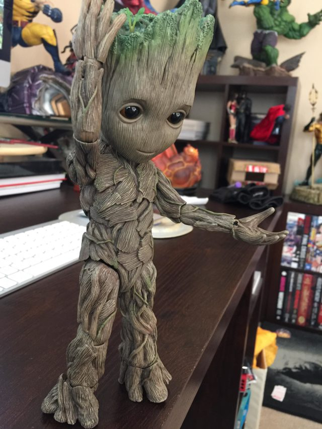 Guardians of the Galaxy 2 Hot Toys Baby Groot Figure Posing
