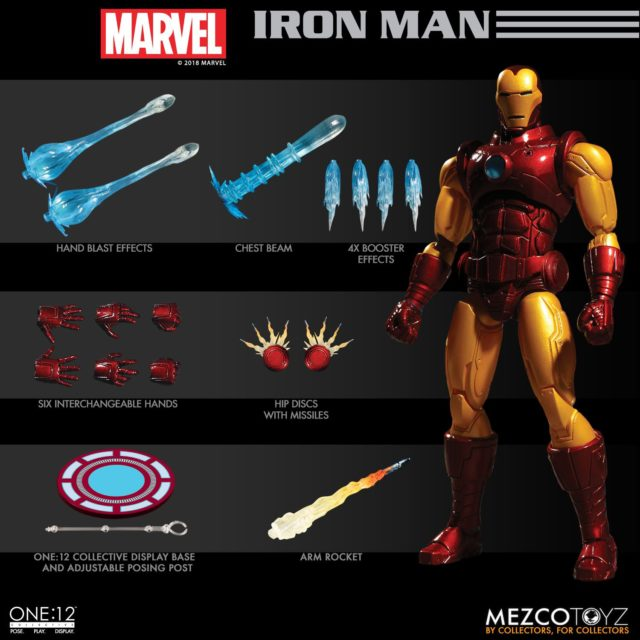 Mezco ONE 12 Collective Iron Man Figure and Accessories