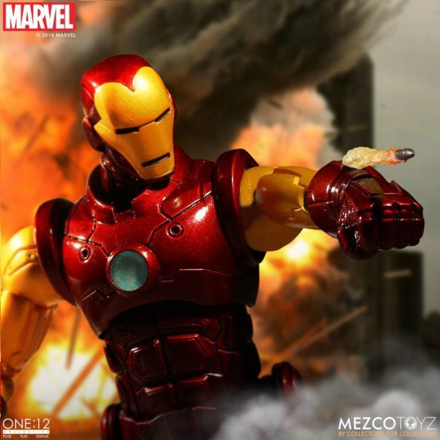 Mezco Toyz Iron Man Action Figure Shooting Missile