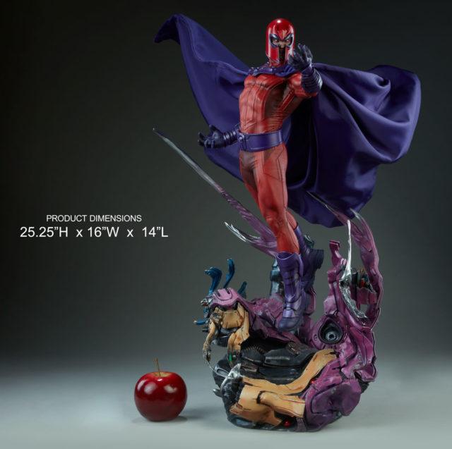 Sideshow Magneto Maquette Statue Size Scale Comparison with Apple