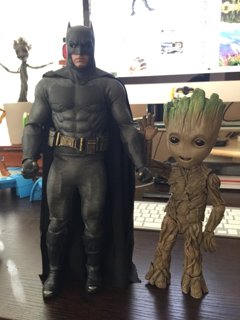 Size Comparison of Life Size Groot Hot Toys and Batman Sixth Scale Figure
