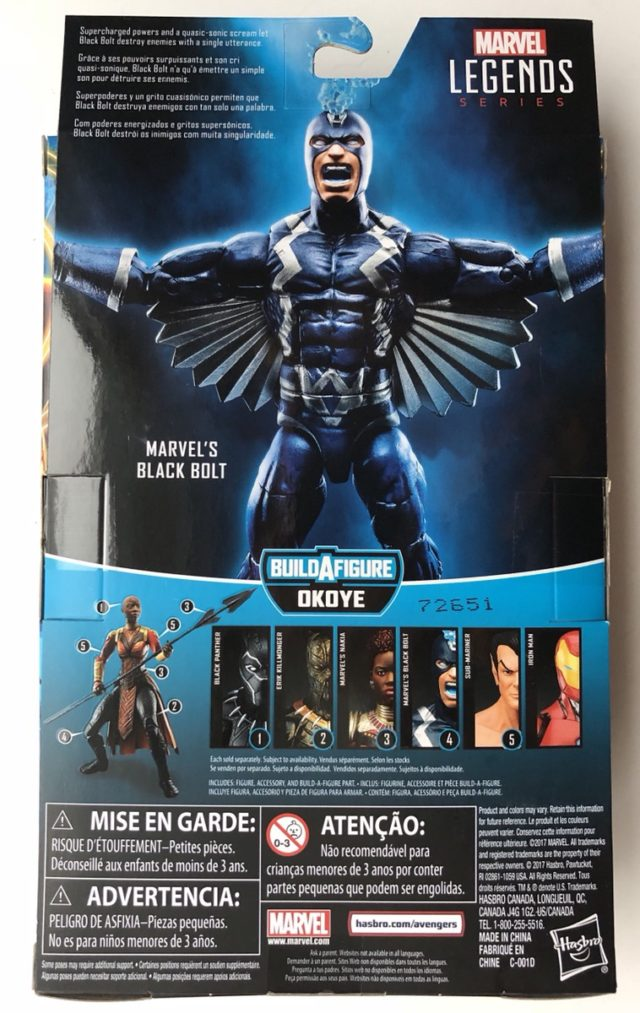 Back of Box Marvel Legends Black Panther Black Bolt Figure