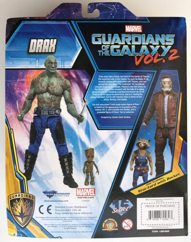 Back of Box GOTG 2 Marvel Select Drax Figure