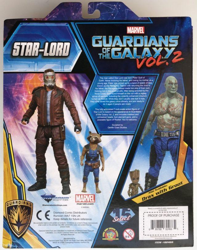Diamond Select Toys Star-Lord Rocket Raccoon Box Back