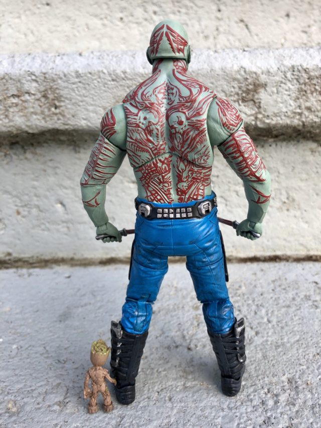 Back of Guardians of the Galaxy Marvel Select Drax Figure with Little Groot
