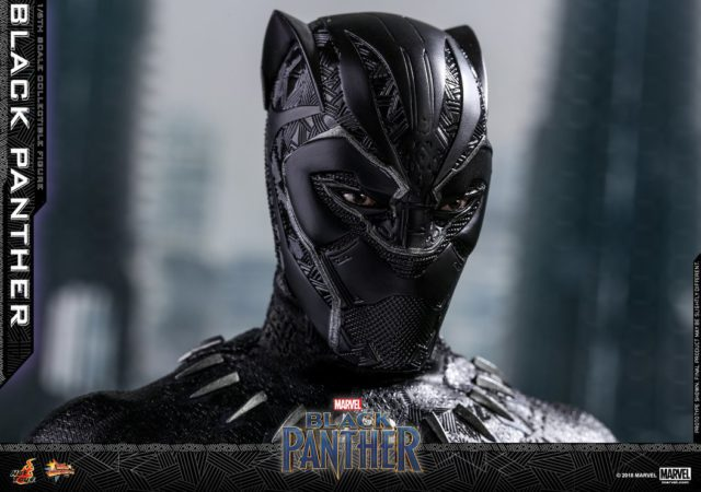 Black Panther Hot Toys Movie Figure with Eyes Showing Through Mask