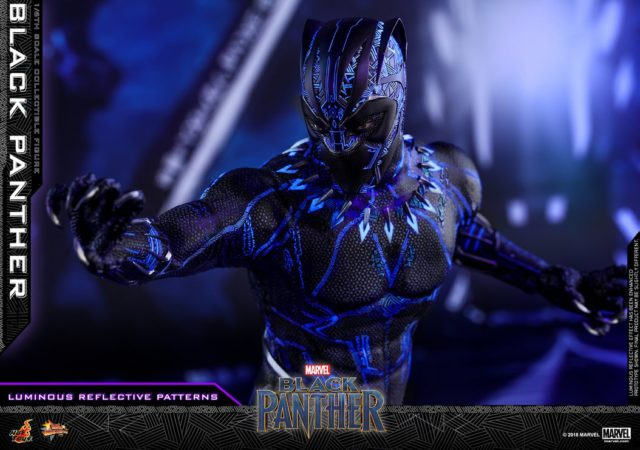 Close-Up of Hot Toys Black Panther Movie Figure with Eyes Showing