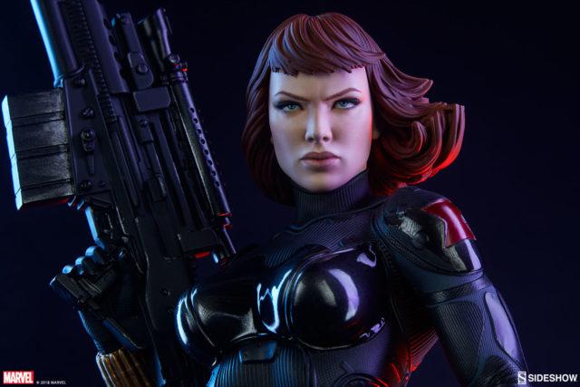 Close-Up of Sideshow PF Black Widow Statue 2018 Bangs
