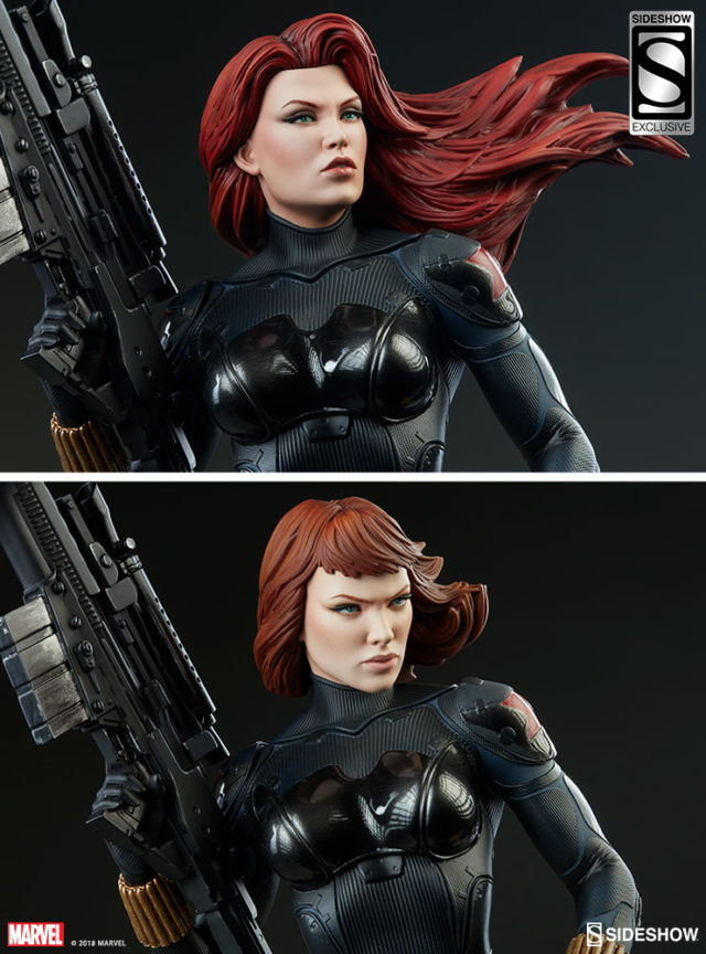 Sideshow Exclusive Black Widow Head Comparison EX and Short Haired