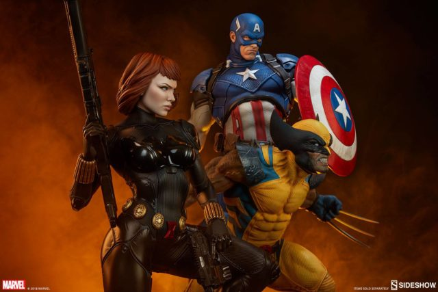 Sideshow Premium Format Black Widow Wolverine Captain America Statues
