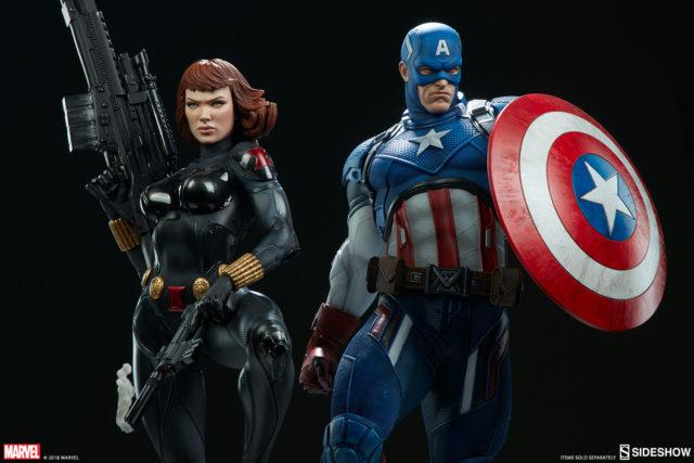 Sideshow Premium Format Figure Black Widow and Captain America Statues