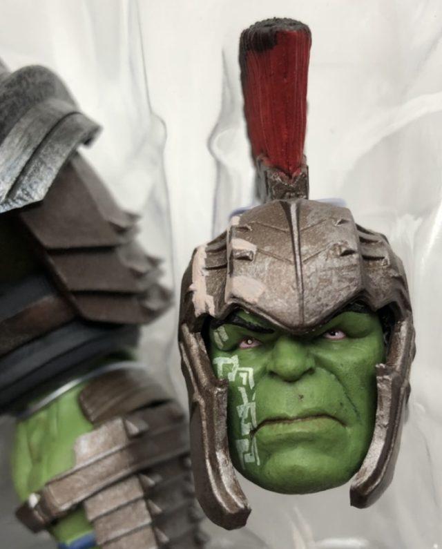 Close-Up of Diamond Select Toys Gladiator Hulk Head with Helmet