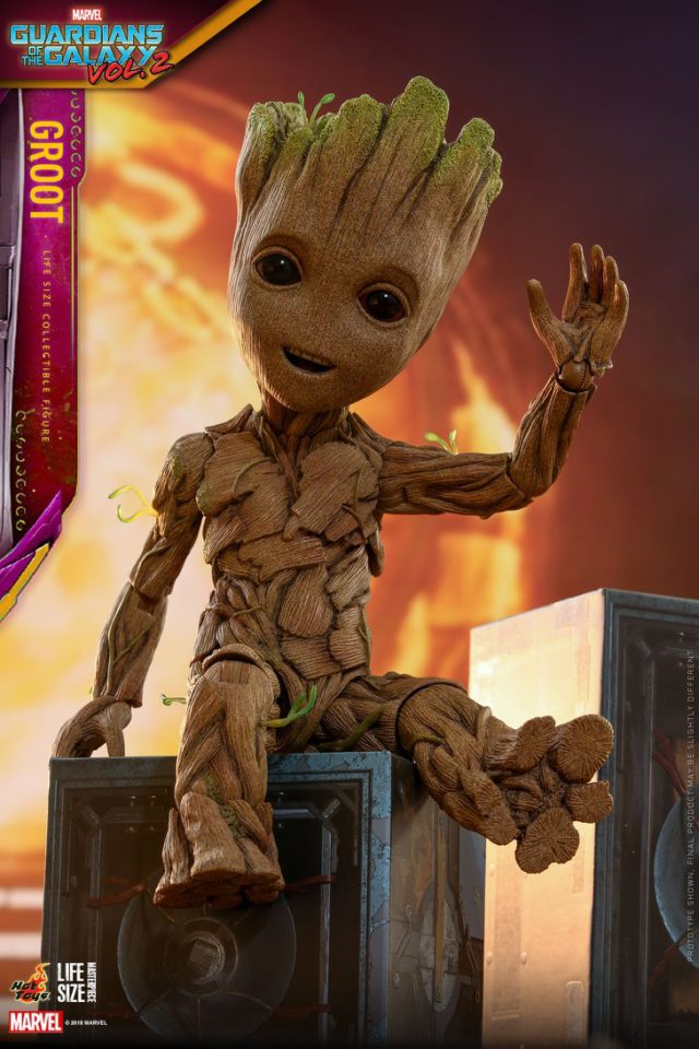 Life Size Baby Groot Hot Toys Figure on Boombox