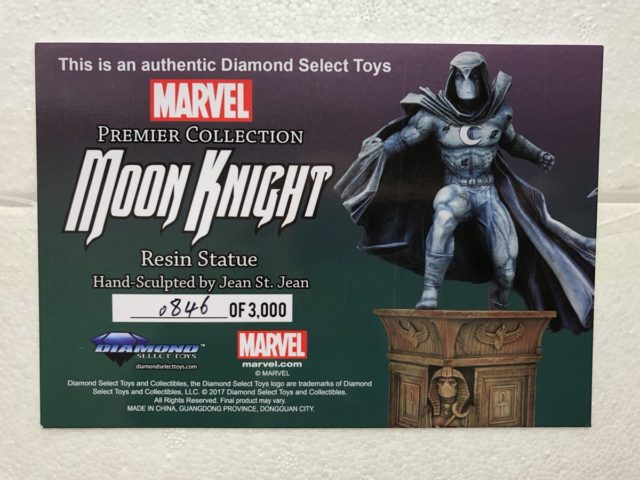 Diamond Select Moon Knight Statue Authenticity Card